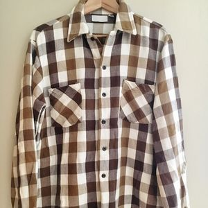Vintage Mens Brown + White Gingham Button Up Shirt